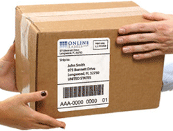 Package with label
