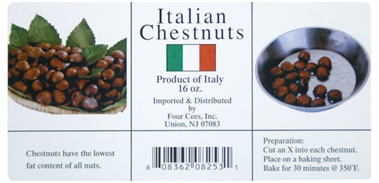 Italian Chestnuts label, created by Apogee