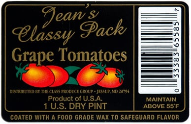 Grape tomatoes label, created by Apogee