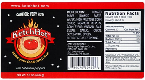 Ketchup label, created by Apogee